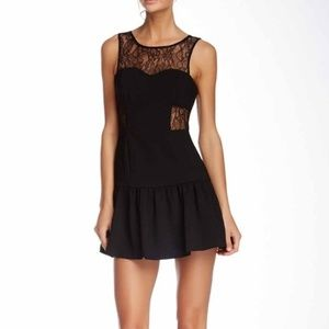 BCBGeneration Black Lace Panel Ruffle Dress Size 6